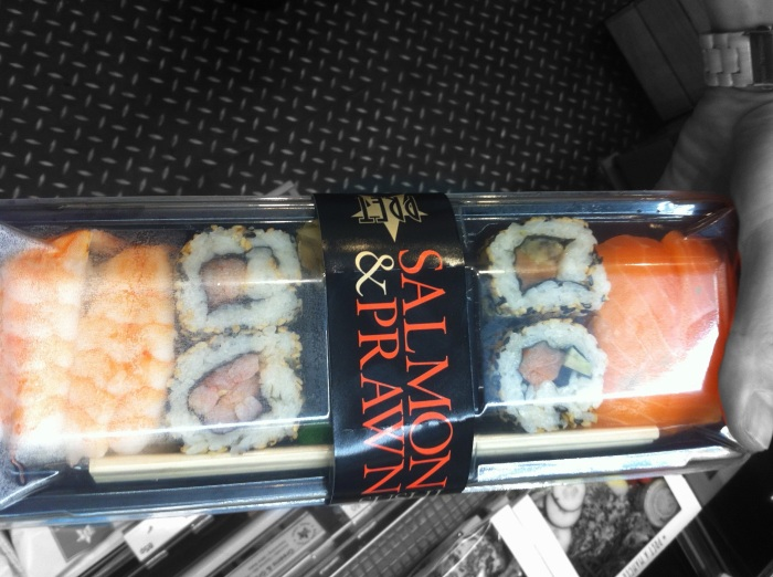 Deluxe Sushi: http://www.pret.co.uk/menu/sushi_salads_soups/deluxe_sushi_PUK4629.shtm